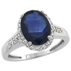 Natural 2.49 ctw Blue-sapphire & Diamond Engagement Ring 10K White Gold - REF-92A3V