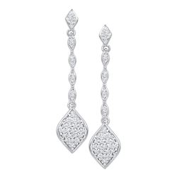 0.25 CTW Diamond Cluster Drop Dangle Earrings 10KT White Gold - REF-24K2W