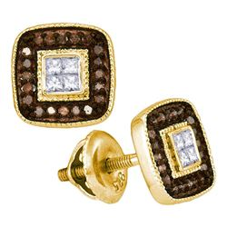 0.33 CTW Cognac-brown Color Diamond Square Cluster Earrings 10KT Yellow Gold - REF-26Y9X