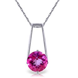 Genuine 1.45 ctw Pink Topaz Necklace Jewelry 14KT White Gold - REF-23M9T