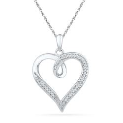 0.10 CTW Diamond Heart Love Pendant 10KT White Gold - REF-18H2M