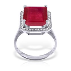 Genuine 7.45 ctw Ruby & Diamond Ring Jewelry 14KT White Gold - REF-119T7A