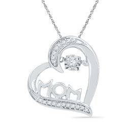 0.10 CTW Diamond Mom Mother Heart Love Pendant 10KT White Gold - REF-19W4K