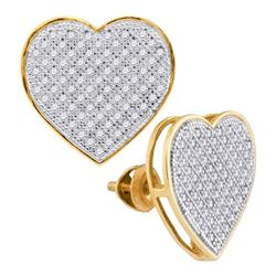 0.50 CTWDiamond Heart Love Cluster Earrings 10KT Yellow Gold - REF-37K5W