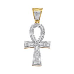 1 CTW Mens Diamond Ankh Cross Charm Pendant 10KT Yellow Gold - REF-75K2W