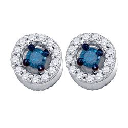 0.29 CTW Blue Color Diamond Stud Earrings 10KT White Gold - REF-18W2K