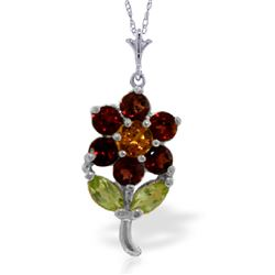 Genuine 1.06 ctw Multi-gemstones Necklace Jewelry 14KT White Gold - REF-25Y3F