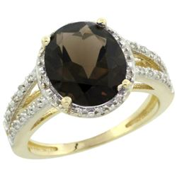 Natural 3.47 ctw Smoky-topaz & Diamond Engagement Ring 10K Yellow Gold - REF-34N7G