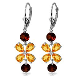 Genuine 5.32 ctw Citrine & Garnet Earrings Jewelry 14KT White Gold - REF-50Y3F