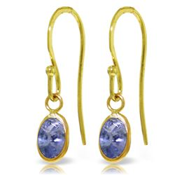 Genuine 1 ctw Tanzanite Earrings Jewelry 14KT Yellow Gold - REF-20P8H