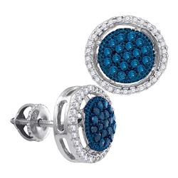 0.43 CTW Blue Color Diamond Cluster Earrings 10KT White Gold - REF-34F4N