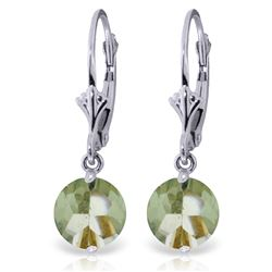 Genuine 3.1 ctw Green Amethyst Earrings Jewelry 14KT White Gold - REF-34H3X