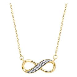 0.15 CTW Diamond Infinity Pendant 10KT Yellow Gold - REF-18M2H