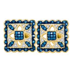 0.26 CTW Blue Color Diamond Square Cluster Earrings 10KT Yellow Gold - REF-30K2W