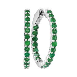 2 CTW Emerald In/Out Hoop Earrings 14KT White Gold - REF-82M4H