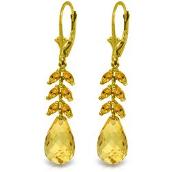 Genuine 11.20 ctw Citrine Earrings Jewelry 14KT Yellow Gold - REF-56T2A