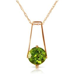 Genuine 1.45 ctw Peridot Necklace Jewelry 14KT Rose Gold - REF-23T8A