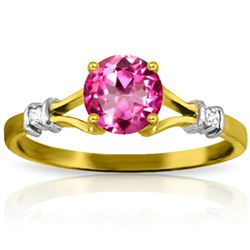 Genuine 1.02 ctw Pink Topaz & Diamond Ring Jewelry 14KT Yellow Gold - REF-28N5R