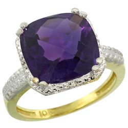 Natural 5.96 ctw Amethyst & Diamond Engagement Ring 14K Yellow Gold - REF-42F3N