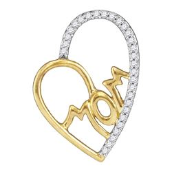 0.10 CTW Diamond Mom Mother Heart Pendant 10KT Yellow Gold - REF-14F9N