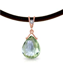 Genuine 6.51 ctw Green Amethyst & Diamond Necklace Jewelry 14KT Rose Gold - REF-26R9P
