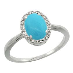 Natural 1.22 ctw Turquoise & Diamond Engagement Ring 14K White Gold - REF-29M3H