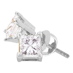 0.51 CTW Princess Diamond Solitaire Stud Earrings 14KT White Gold - REF-63F8N