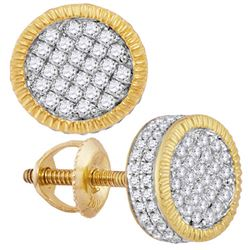 0.50 CTWMens Diamond 3d Circle Cluster Stud Earrings 10KT Yellow Gold - REF-41X9Y