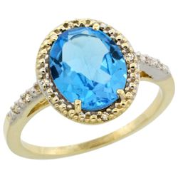 Natural 2.42 ctw Swiss-blue-topaz & Diamond Engagement Ring 10K Yellow Gold - REF-25R5Z