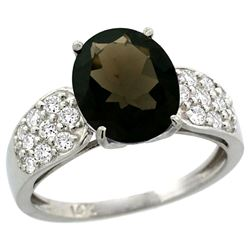 Natural 2.75 ctw smoky-topaz & Diamond Engagement Ring 14K White Gold - REF-58M4H