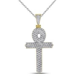 0.40 CTW Mens Diamond Ankh Cross Charm Pendant 10KT Yellow Gold - REF-41W9K