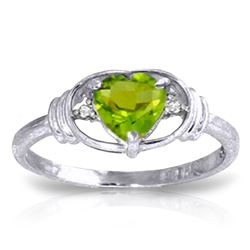 Genuine 0.61 ctw Peridot & Diamond Ring Jewelry 14KT White Gold - REF-40V3W