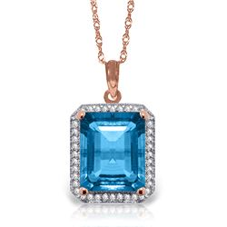 Genuine 7.8 ctw Blue Topaz & Diamond Necklace Jewelry 14KT Rose Gold - REF-72V8W