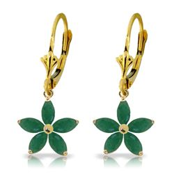 Genuine 2.8 ctw Emerald Earrings Jewelry 14KT Yellow Gold - REF-62Z6N