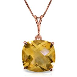 Genuine 3.6 ctw Citrine Necklace Jewelry 14KT Rose Gold - REF-28W9Y