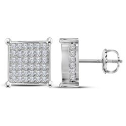 1.48 CTW Diamond Square Cluster Stud Earrings 10KT White Gold - REF-97W4K