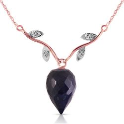 Genuine 12.92 ctw Sapphire & Diamond Necklace Jewelry 14KT Rose Gold - REF-42A2K