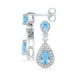 1.46 CTW Pear Created Blue Topaz Dangle Diamond Earrings 10KT White Gold - REF-28X4Y