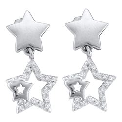0.10 CTW Diamond Star Dangle Earrings 10KT White Gold - REF-14H9M