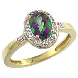 Natural 1.08 ctw Mystic-topaz & Diamond Engagement Ring 14K Yellow Gold - REF-31M3H
