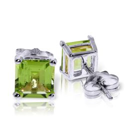 Genuine 1.75 ctw Peridot Earrings Jewelry 14KT White Gold - REF-24R3P