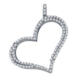 0.32 CTW Diamond Outline Heart Pendant 10KT White Gold - REF-22W4K