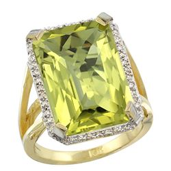 Natural 13.72 ctw Lemon-quartz & Diamond Engagement Ring 14K Yellow Gold - REF-73N9G