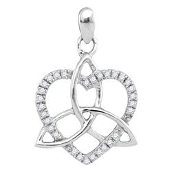 0.10 CTW Diamond Heart Love Pendant 10KT White Gold - REF-10W5K