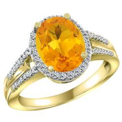 Natural 2.72 ctw citrine & Diamond Engagement Ring 10K Yellow Gold - REF-45N3G