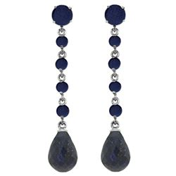 Genuine 31.6 ctw Sapphire Earrings Jewelry 14KT White Gold - REF-55M2T