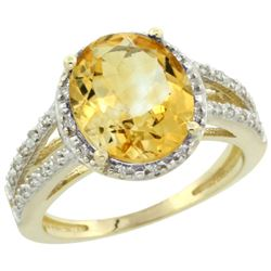 Natural 3.47 ctw Citrine & Diamond Engagement Ring 10K Yellow Gold - REF-34X7A