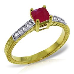 Genuine 0.65 ctw Ruby & Diamond Ring Jewelry 14KT Yellow Gold - REF-71Z3N