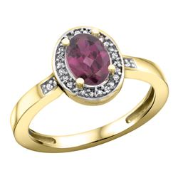 Natural 1.08 ctw Rhodolite & Diamond Engagement Ring 10K Yellow Gold - REF-25G9M
