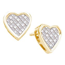 0.50 CTWPrincess Diamond Cluster Heart Screwback Stud Earrings 14KT Yellow Gold - REF-52N4F